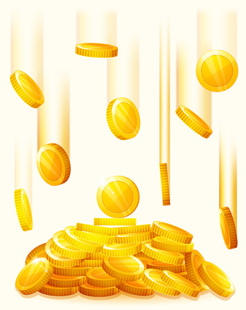 pile of money: Falling golden coins. Rain from the golden coins. Money golden rain. Pile of coins