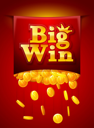 Big win poster with Falling golden coins. Big Win banner. playing cards, slots and roulette. Vectores