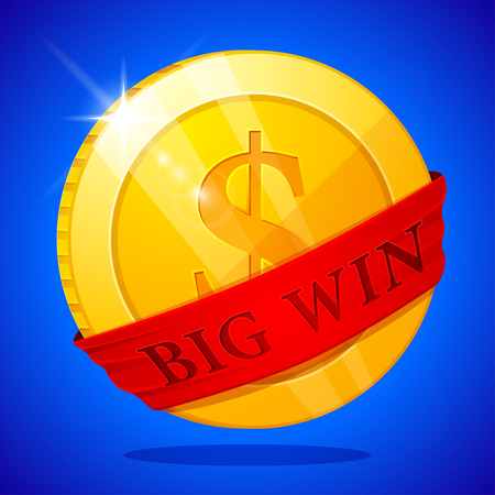 Big win poster with golden coin. Big Win banner. playing cards, slots and roulette.