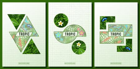 Tre poster tropicale, foglie giungla, Frangipani, fiori tropicali moderni. Farfalla. sfondo alla moda geometrica. illustrazione di vettore