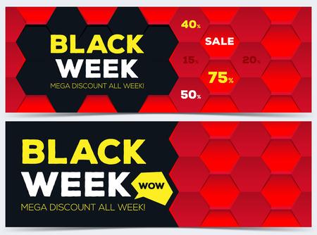 Black week sale. Black week banner. Sale banner. Sale. Mega discount banners. New offer. Vector illustration.  イラスト・ベクター素材