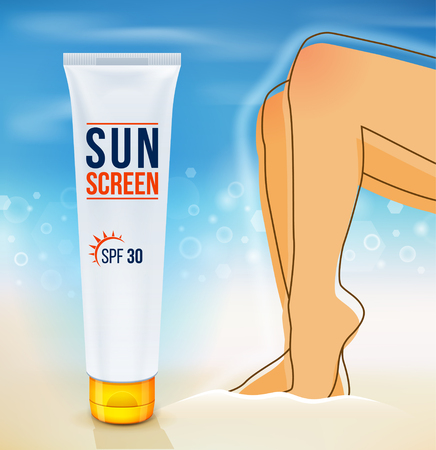 Sunscreen cream. Sun Protection. Cosmetic container. sunblock product. Close-up of, Sunbathing at beach, summer vacation. Vector illustration.