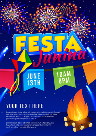 holiday party: Festa Junina poster. Brazilian june party. Latin American holiday background.