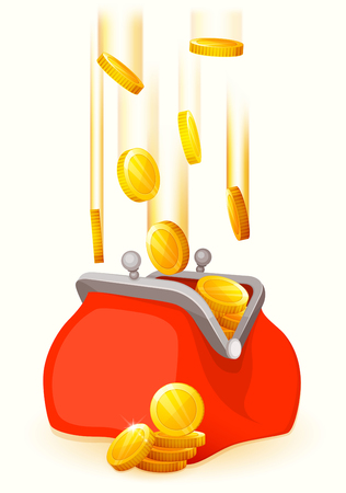 Gold coins falling in open retro purse. Flat style. Red purse. Vector illustration.