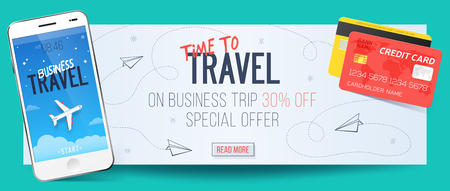 smartphone business: Special offer on business Travel. Business trip banner. Smartphone and credit cards. Air travel concept. Business travel illustration. 30% off. Illustration