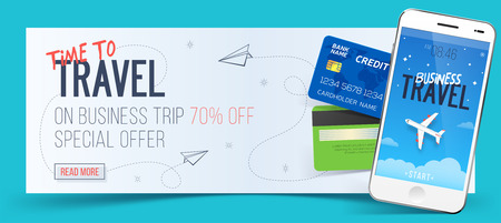 smartphone business: Special offer on business Travel. Business trip banner. Smartphone and credit cards. Air travel concept. Business travel illustration. 70% off.