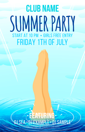 jumping into water: Summer party poster. Hello Summer. Girl jumping into the water. Poster and flyer design template.