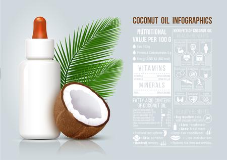 infografía aceite de coco, los beneficios del aceite de coco, infografía comida, fruta sana, botella cosmética. Ilustración de vector