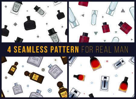 eau de perfume: Four seamless pattern for real man. It can be used for packing. Male fragrance. Eau de toilette. Perfume for men. Vector illustration Illustration