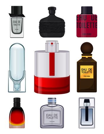 eau de perfume: Set perfume bottle on white background. Perfume bottle for men. Male fragrance. Eau de toilette. Vector illustration