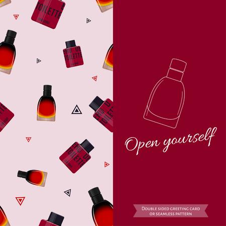 eau de toilette: Double sided modern greeting card for man. Seamless pattern. Male fragrance. Eau de toilette. Perfume for men. Vector illustration