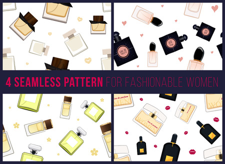 eau de perfume: Four seamless pattern for fashionable women. It can be used for packing. Women fragrance. Eau de toilette. Perfume for female. Vector illustration