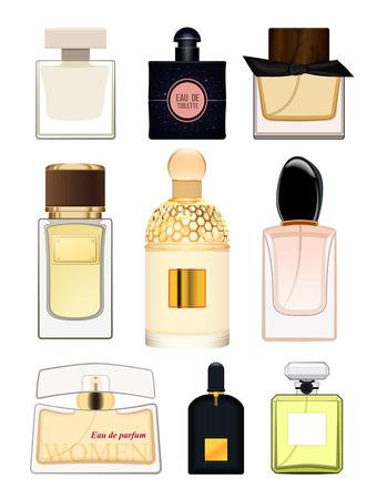 Set perfume bottle on white background. Perfume bottle for women. Female fragrance. Eau de toilette. Vector illustration