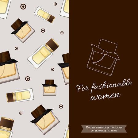 eau de toilette: Double sided modern greeting card for fashionable women. Seamless pattern. Women fragrance. Eau de toilette. Perfume for female. Vector illustration