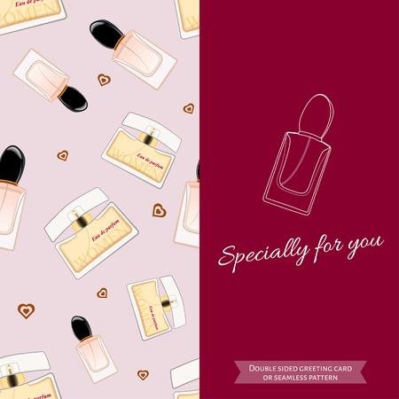 eau de perfume: Double sided modern greeting card for fashionable women. Seamless pattern. Women fragrance. Eau de toilette. Perfume for female. Vector illustration