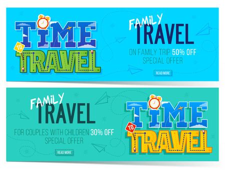 Time to family travel banner. Can use for marketing, promotion, flyer, blog, web, social media. Template for family trip. Ilustração