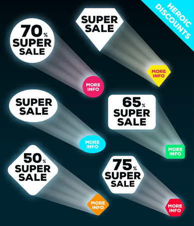 heroic: Glow heroic discount set. Super sale banner. Stylized under the spotlight. Vector illustration. Illustration