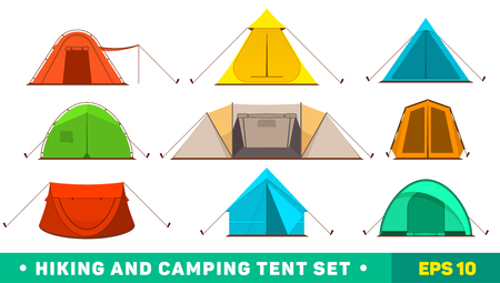 Collection of camping tent icons. Hiking and camping tent set.