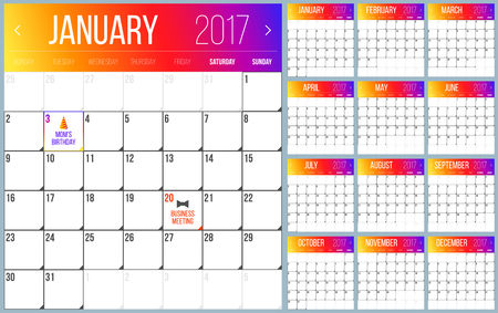 agenda year planner: Calendar Planner for 2017 Year. Trendy gradient design. Set of 12 Months. Vector Design Template.
