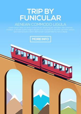 rope bridge: Trip by funicular train. Poster with climb by funicular against the sky and mountains. Stock vector Illustration