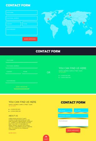 set form: Set of contact form for Website. Registration contact form. Template for website. Feedback form. Vector illustration Illustration