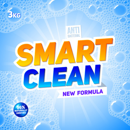 washing powder: Smart clean. Template for laundry detergent. Package design for Washing Powder & Liquid Detergents. Stock vector