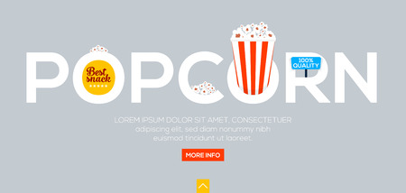 Creative word of popcorn for movies, cinema and other, lettering on gray background. Web banner, flat design concept. Vector illustration Illustration