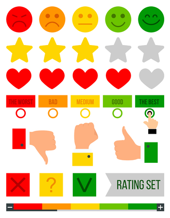 Rating set. Rank, level of satisfaction rating. Feedback vector concept. Vector illustration