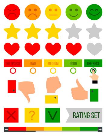 Rating set. Rank, level of satisfaction rating. Feedback vector concept. Vector illustration