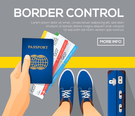 Border control banners. view from above. Passport with tickets in a hand. Time to travel. vector illustration. Vector Illustration