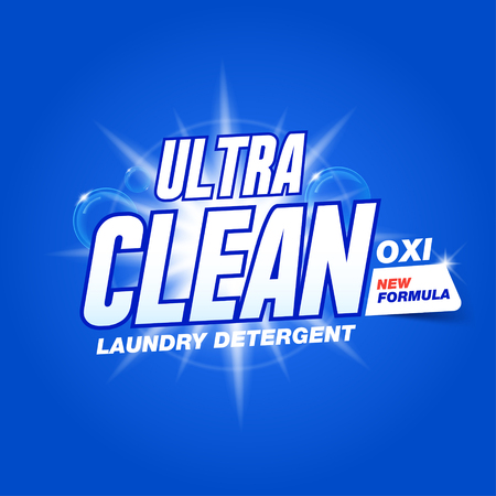Ultra clean. Template for laundry detergent. Package design for Washing Powder & Liquid Detergents. Stock vector Stock Illustratie