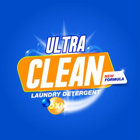 Ultra limpio. Plantilla para el detergente para la ropa. Diseño del producto para el lavado en polvo y detergentes líquidos. Stock vector