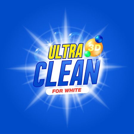 Ultra clean for white. Template for laundry detergent. Package design for Washing Powder & Liquid Detergents. Stock vector