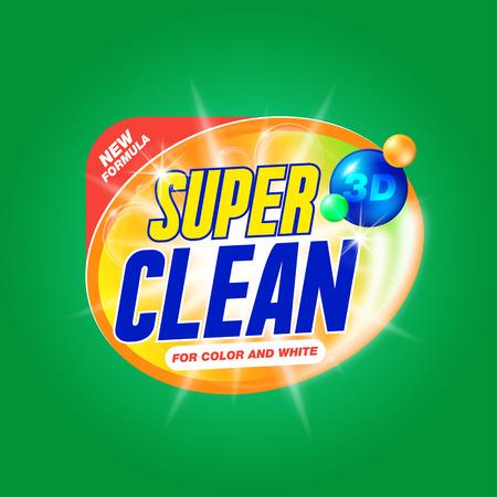 Super limpio. Plantilla para el detergente para la ropa. Diseño del producto para el lavado en polvo y detergentes líquidos. Stock vector Ilustración de vector