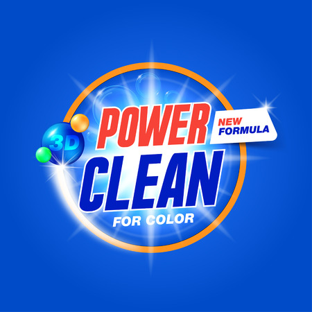 Power clean. Template for laundry detergent. Package design for Washing Powder & Liquid Detergents. Stock vector Vectores