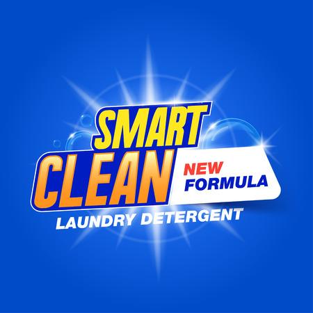 limpia inteligente. Plantilla para el detergente para la ropa. Diseño del producto para el lavado en polvo y detergentes líquidos. Stock vector Ilustración de vector