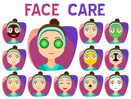 woman hygiene protection: Set of Girls Cleaning and care face, Treatment, Beauty, Cosmetic, Makeup, Healthy, Lifestyle. Face mask. Vector stock