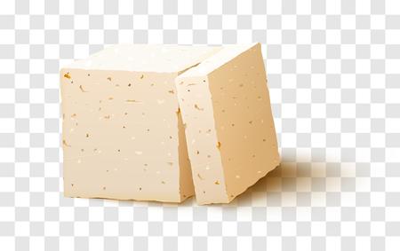 透明な背景に豆腐の作品。豆腐チーズ。ベクター素材