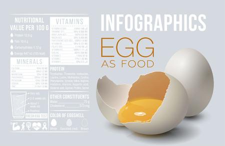Egg infographics. Egg as food. Design template, vitamins and minerals. Benefit of egg. Vector illustration 向量圖像