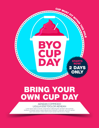 Poster with ice cream in bucket. byo cup day poster. Bring your own cup day. Vector illustration 向量圖像