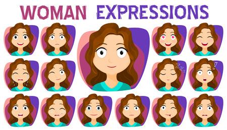 Chica con diferentes expresiones faciales establecidos. Una variedad de expresiones faciales de las mujeres. Stock vector