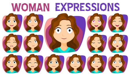 Fille avec différentes expressions faciales. Une variété d'expressions faciales de femmes. Vecteur stock