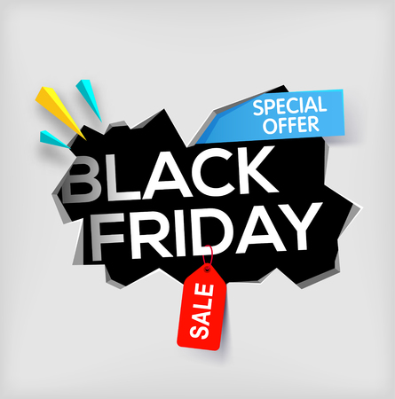 big break: Black friday banner on gray background. Cracked hole in wall with black friday inscription. Sale and discount. New offer. special offer. Vector illustration.