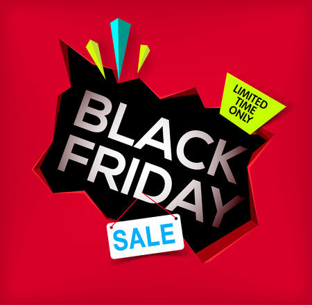 Black friday banner. Cracked hole in wall with black friday inscription. Sale and discount. New offer. limited time only. Vector illustration.