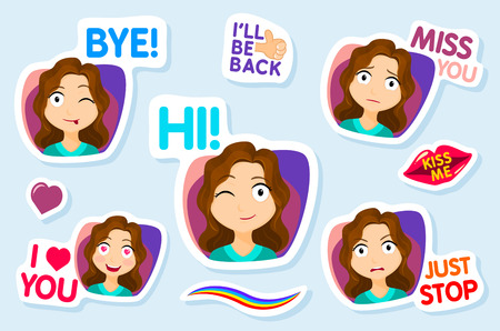 sms: Collection of stickers for chat or sms. Cute girl stickers. Woman with different facial expressions. cartoon funny stickers set. Vector Illustration