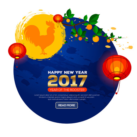 chinese new year element: Chinese New Year 2017. Celebration New year background. Chinese Spring Festival. Vector illustration