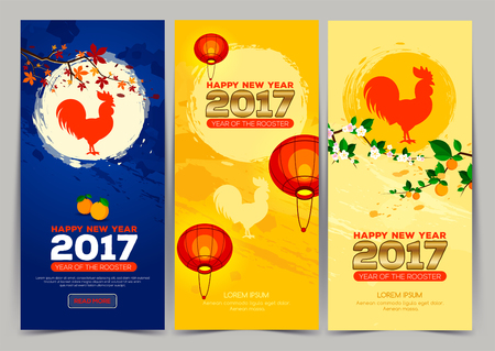 Three vertical banner Chinese New Year 2017. Celebration New year background. Chinese Spring Festival. Vector illustration Vettoriali