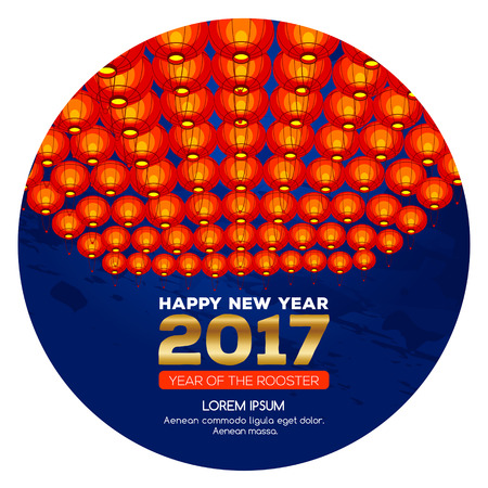 Chinese New Year 2017. Celebration New year background. Chinese Spring Festival. Vector illustration