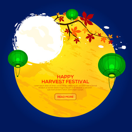 Background for Asian Harvest Mid Autumn Festival with chestnut tree and lantern. Stock vector Illustration