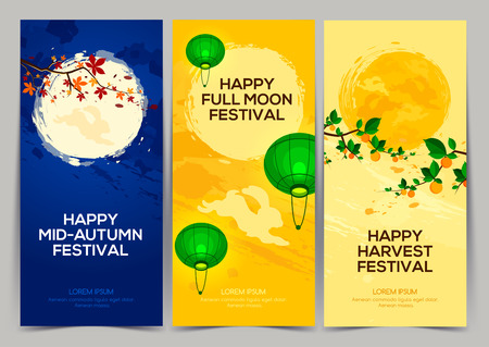 Happy Harvest Mid Autumn Festival. Three banners of full moon festival with persimmon tree, chestnut tree, rabbits and lantern. Stock vector Иллюстрация